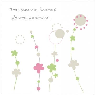 Echantillon Faire part de naissance floral rose et vert