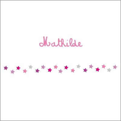 Echantillon Faire part de naissance guirlande étoiles rose