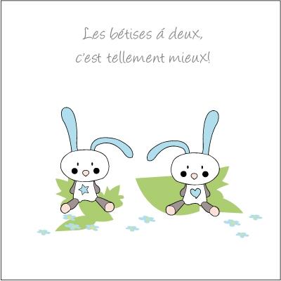 Echantillon Faire part de naissance lapins Garçons jumeaux