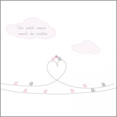 Echantillon Faire part de naissance oiseau d'amour rose