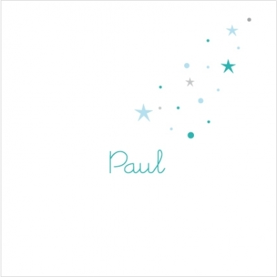 Echantillon Faire part de naissance pluie d'étoiles bleu