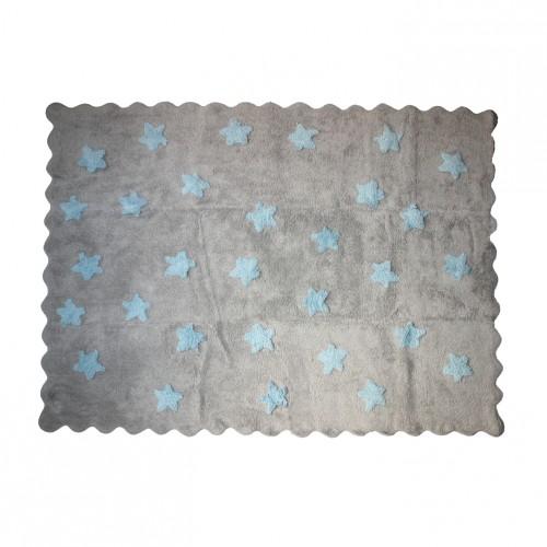 Tapis gris étoiles bleues en coton
