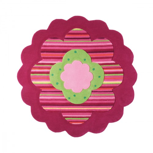 Tapis Flower Shape rose et verte