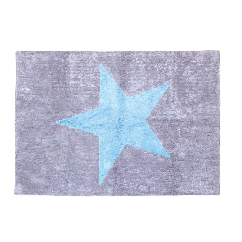 Tapis enfant coton gris étoile Estela bleu