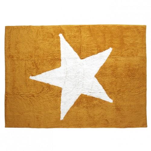 Tapis enfant coton étoile Estela moutarde