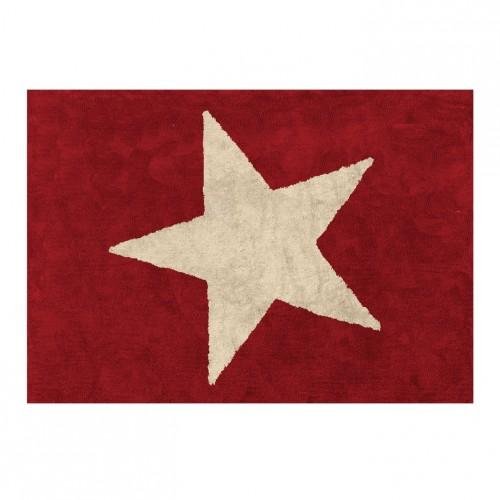 Tapis enfant coton étoile Estela rouge