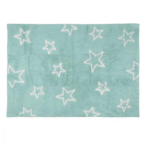 Tapis enfant coton menthe grandes étoiles blanches