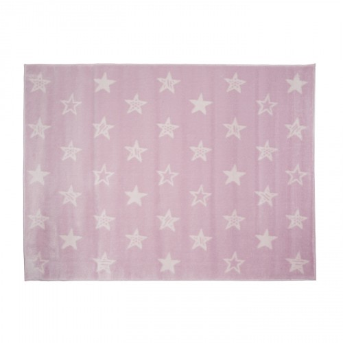 Tapis rose étoiles blanches