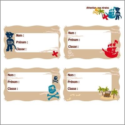 Etiquettes cahier Pirates