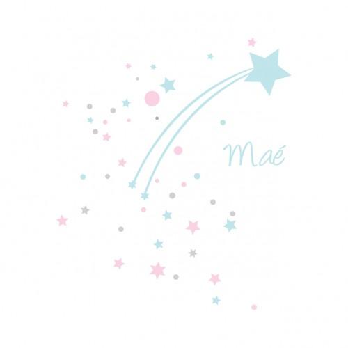 Sticker étoile filante neige bleue