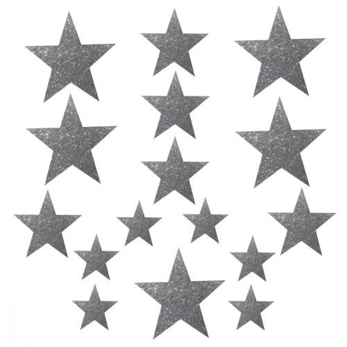 Planche d'étoiles argentées pailletées thermocollantes