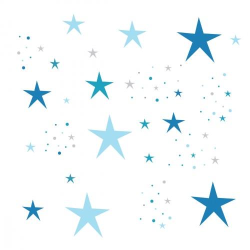 Stickers Etoiles Magiques bleues et grises