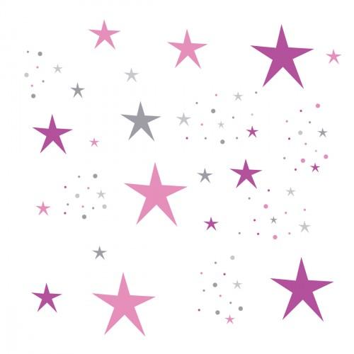 Stickers Etoiles Magiques roses et violet