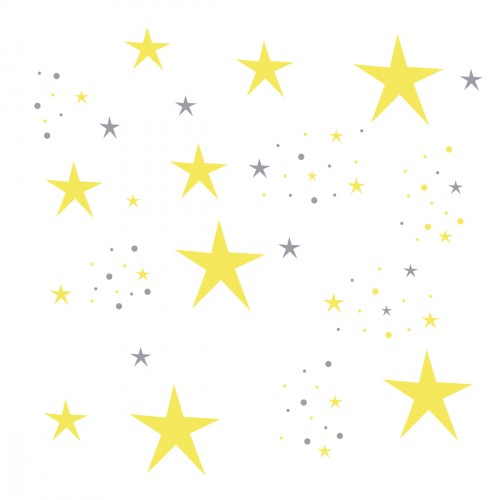 Stickers Etoiles Magiques jaunes et grises