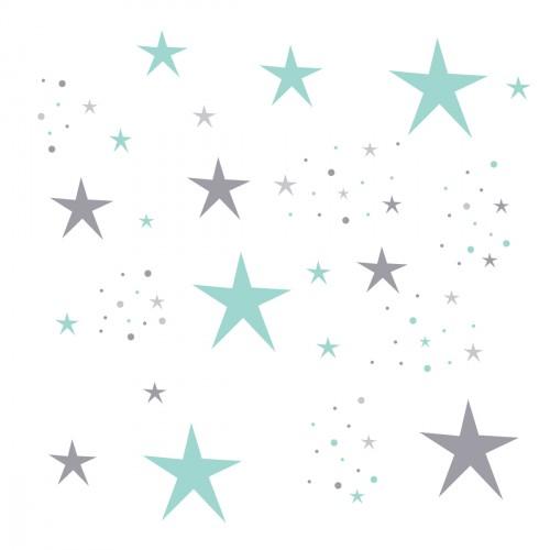 Stickers Etoiles Magiques vert menthe et grises