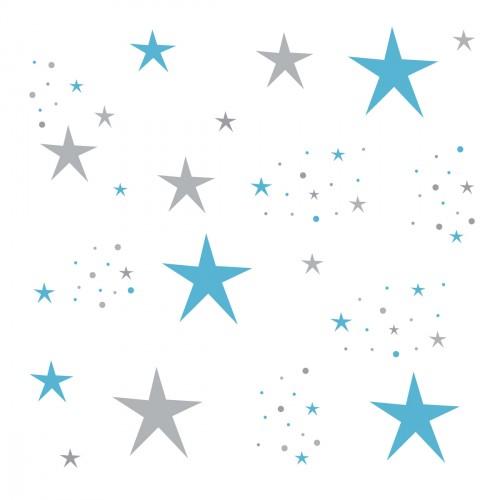 Stickers Etoiles Magiques bleues turquoise et grises