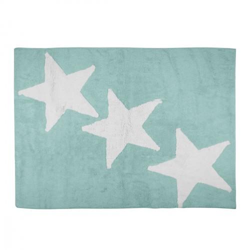 Tapis enfant coton menthe trio d'étoiles blanches