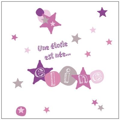 Faire part de naissance étoile rose et violet Eline