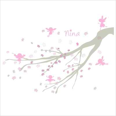 Faire part de naissance arbre à fées rose gris