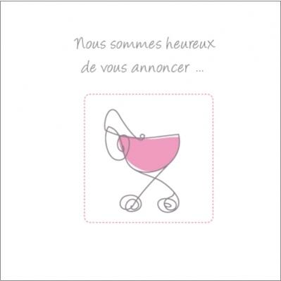 Faire part de naissance landau rose