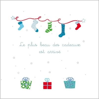 Faire part de naissance Noël multicolore