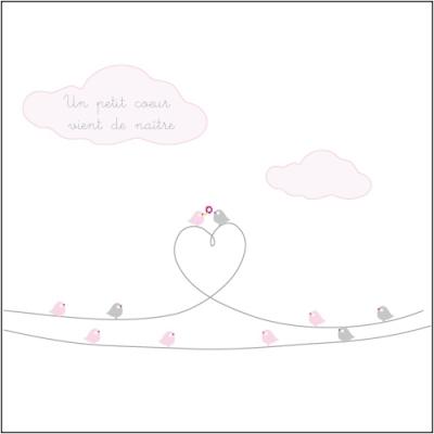 Faire part de naissance oiseaux d'amour rose
