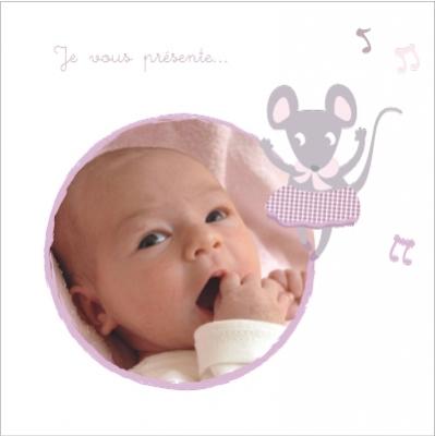 Faire part de naissance photo Souris Mélodie