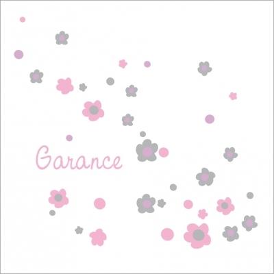 Faire part de naissance poudre de fleurs roses et grises