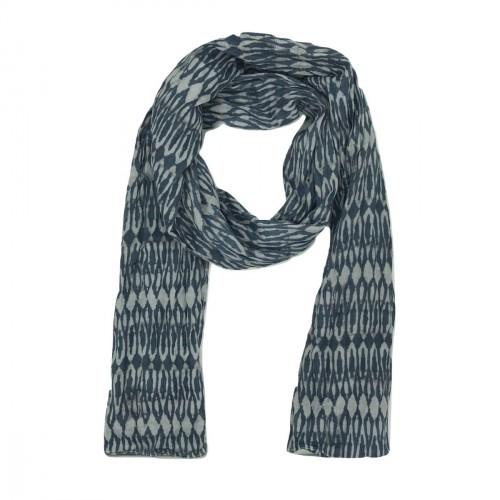 Foulard imprimé géométrique bleu et gris