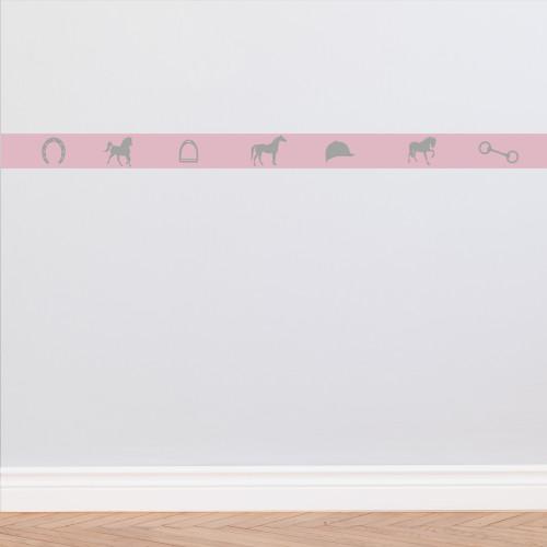 Frise papier peint rose et gris motifs équitation