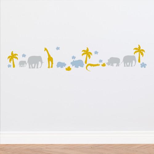 Frise animaux d'Afrique bleu ciel, gris et miel personnalisable