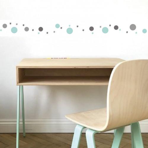 Frise papier peint blanc motif bulles et étoiles gris et menthe