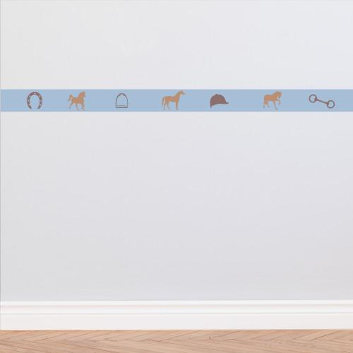 Frise papier peint bleu ciel motif équitation