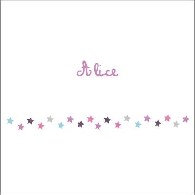 Frise étoiles mauves et roses Alice