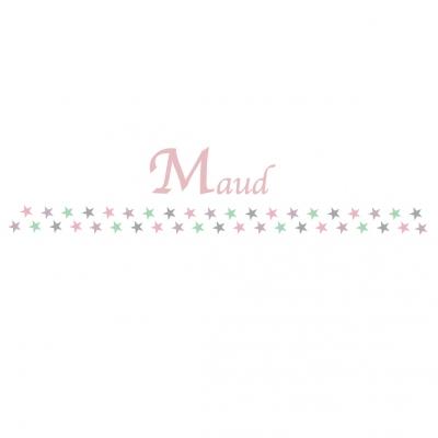 Frise étoiles rose et vert Maud