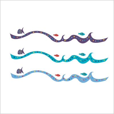 Frise poissons et vagues multicolore