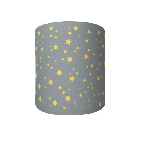 Abat jour ou suspension cylindrique gris étoiles de la galaxie jaunes