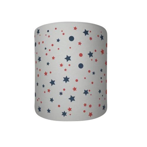 Abat jour ou suspension cylindrique gris étoiles de la galaxie bleus et rouges