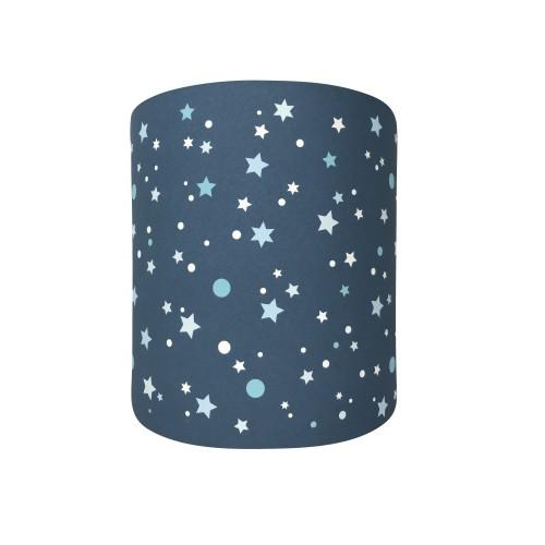 Abat jour ou suspension cylindrique bleu marine étoiles de la galaxie bleues
