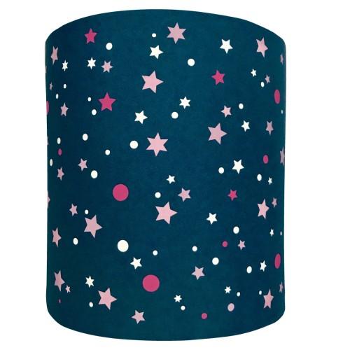 Abat jour ou suspension cylindrique bleu marine étoiles de la galaxie roses