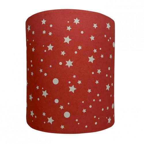 Abat jour ou suspension cylindrique rouge étoiles de la galaxie grises