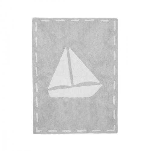 Tapis enfant coton bateau gris