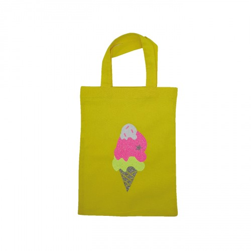 Tote Bag mini cornet de glace jaune