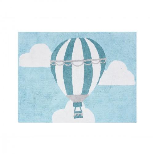 Tapis enfant coton montgolfière bleu ciel
