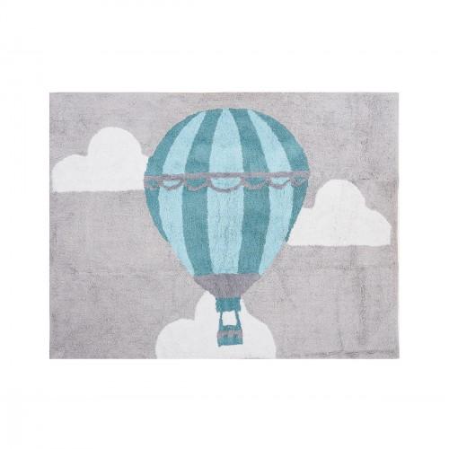 Tapis enfant coton montgolfière gris