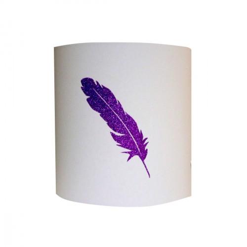 Applique lumineuse grande plume pailletée personnalisable