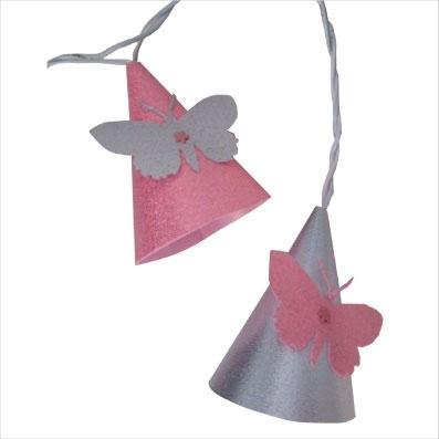 Guirlande lumineuse papillon rose pale et argent