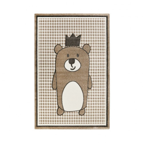 Tapis enfant ourson Henry marron