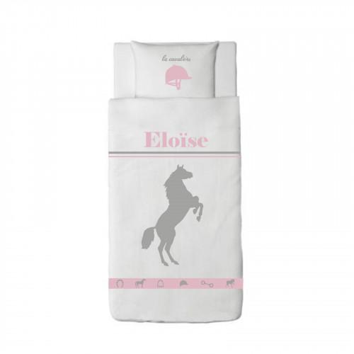 Housse de couette cheval harmonie rose et gris personnalisable