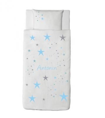 Housse de couette étoiles magiques bleu ciel